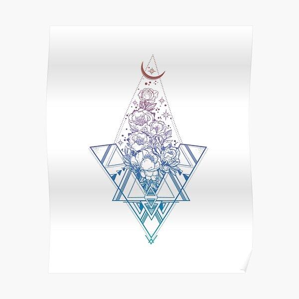Floral Sacred Geometry // Rainbow Peonies Poster
