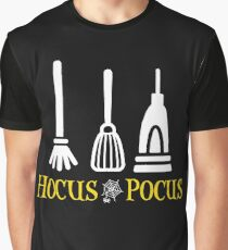 cute Hocus Pocus Broom Mop and Vacuum Halloween Graphic T-Shirt