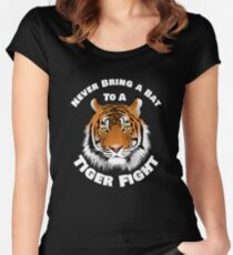 Beautiful Tiger Never Bring a Bat To A Tiger Fight Zombie Lovers Shirt Women's Fitted Scoop T-Shirt