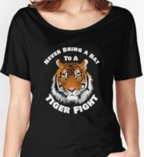 Beautiful Tiger Never Bring a Bat To A Tiger Fight Zombie Lovers Shirt Women's Relaxed Fit T-Shirt