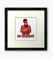 David S. Pumpkins - Any Questions? VI - White Framed Print
