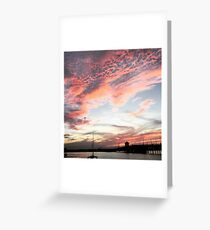 Vibrant Bay Sunset Greeting Card
