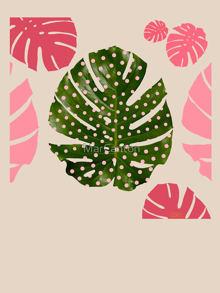 """""""Moss green leaf and pink flamenco polka dots"""" by MarCanton"""