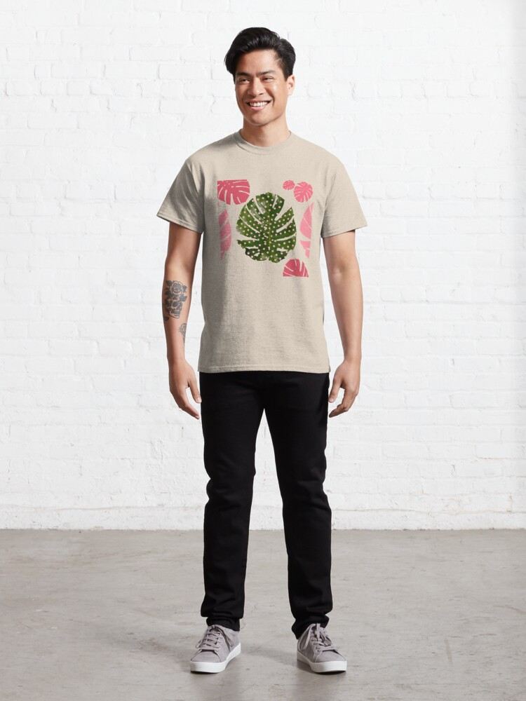 """Alternate view of """"Moss green leaf and pink flamenco polka dots"""" Classic T-Shirt"""