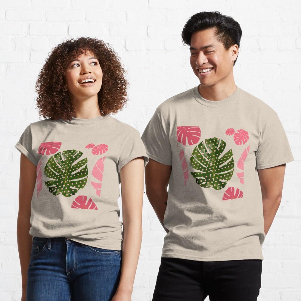 """Moss green leaf and pink flamenco polka dots"" Classic T-Shirt"