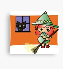 Celya and Lela kitten cleaning Halloween Magic Collection) Canvas Print