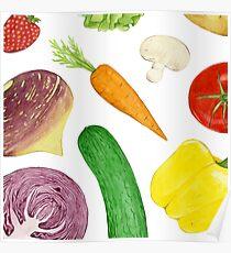 Watercolour vegetables Poster