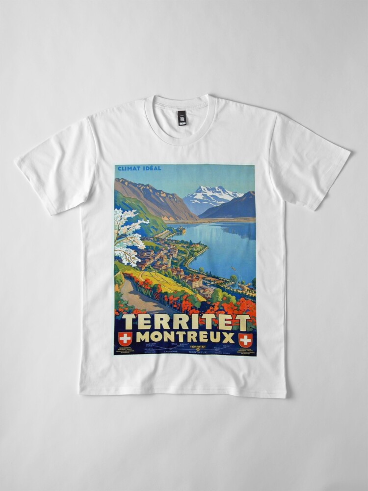 Alternative Ansicht von Weinleseplakat - Territet Montreaux Premium T-Shirt