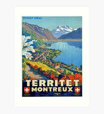 Weinleseplakat - Territet Montreaux Kunstdruck