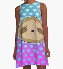 Angry Sloth Face - Ombre Hearts A-Line Dress
