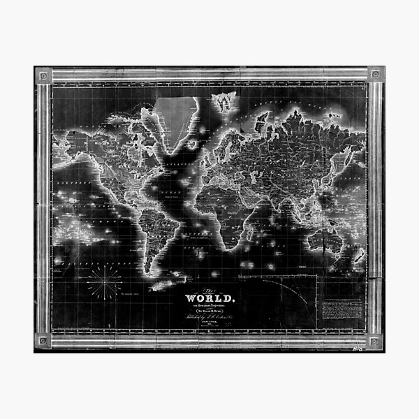 Black and White World Map (1840) Inverse Photographic Print