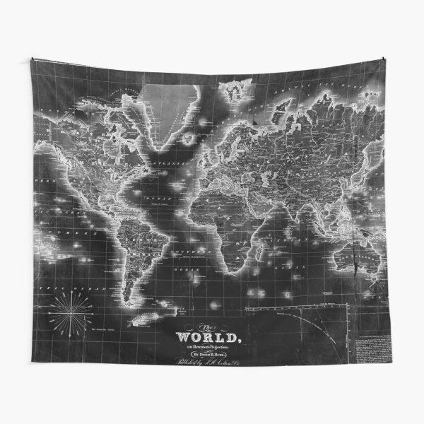 Black and White World Map (1840) Inverse Tapestry