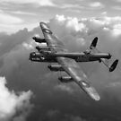 Lancaster W5005 AR-L Leader above clouds B&W version by Gary Eason