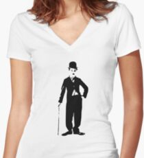 Camiseta entallada de cuello en V Charlie Chaplin