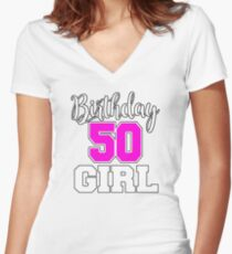 Women's Birthday Shirt For 50 Year Old Birthday Women's Fitted V-Neck T-Shirt