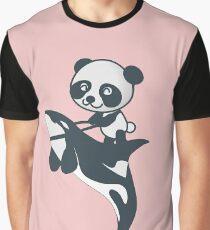 Panda Riding Orca Sea Panda Fantasy Cartoon  Graphic T-Shirt