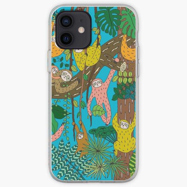 Happy Sloths Jungle   iPhone Soft Case