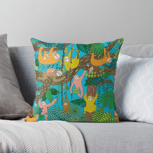 Happy Sloths Jungle   Throw Pillow