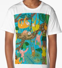 Happy Sloths Jungle  Long T-Shirt