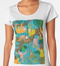 Happy Sloths Jungle  Women's Premium T-Shirt