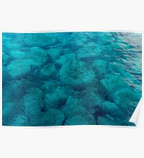 Beautiful clear sea water, in Greece, spring day Poster