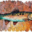 Weinlese-rote Forelle-Fresko von OLena  Art ❣️