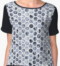 Grey hexagons Women's Chiffon Top