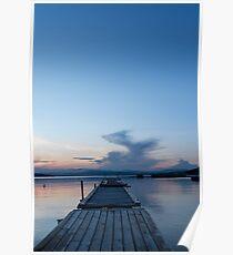 Wooden pontoon bridge in Greece, at sunset time Poster