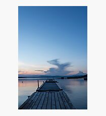 Wooden pontoon bridge in Greece, at sunset time Photographic Print