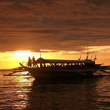 boat sunset by amarbitor