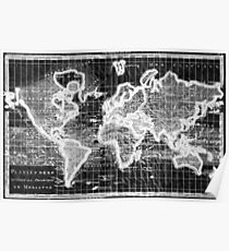 Black and White World Map (1780) Inverse Poster