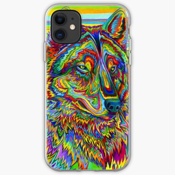 Colorful Psychedelic Rainbow Wolf iPhone Soft Case