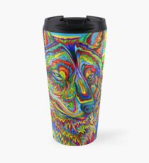 Colorful Psychedelic Rainbow Wolf Travel Mug