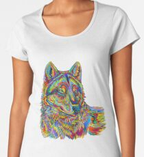 Colorful Psychedelic Rainbow Wolf Women's Premium T-Shirt