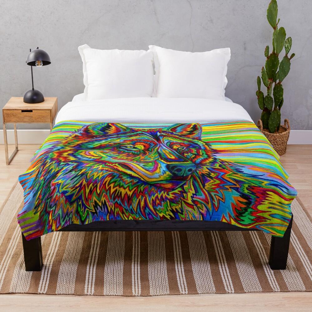 Bunter psychedelischer Regenbogen-Wolf Fleecedecke
