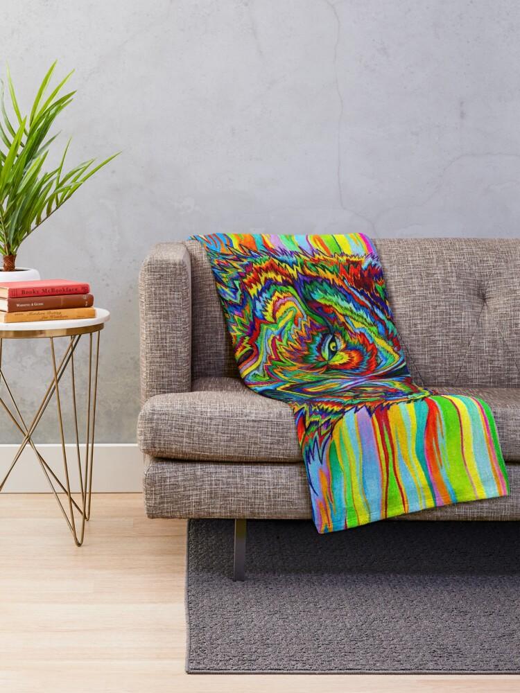 Alternative Ansicht von Bunter psychedelischer Regenbogen-Wolf Fleecedecke