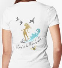 Hula, Surf Life, Positive Vibes, Happy Life Women's Fitted V-Neck T-Shirt