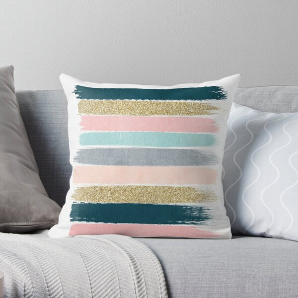 Navy Gold Pillows Cushions Redbubble