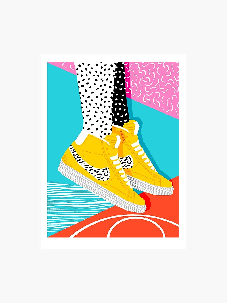 Kid You Not - memphis retro shoes fashion throwback 80s style trends  minimalist art neon | Photographic Print
