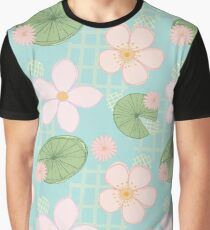 Zen Floral - Cherry Blossoms, Lily Pads and Water Lilies - Light Blue Graphic T-Shirt