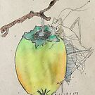 Persimmon and Grasshopper by eatdrinkarts