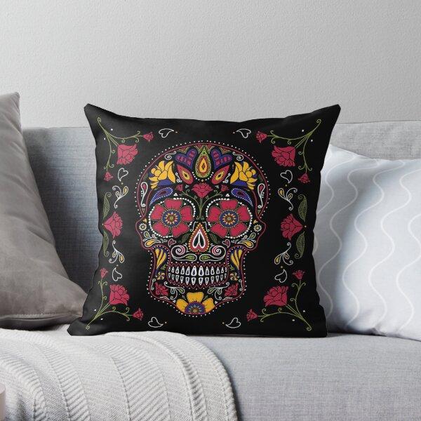 Day of the Dead Sugar Skull Dark Throw Pillow