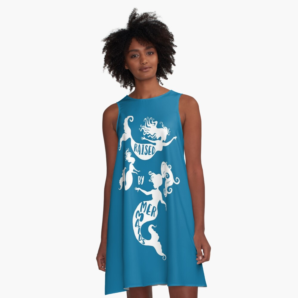Raised By Mermaids - White Silhouette A-Line Dress Front