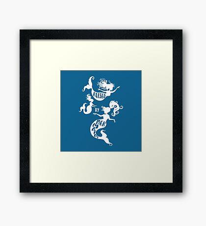Raised By Mermaids - White Silhouette Framed Print
