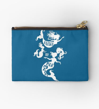 Raised By Mermaids - White Silhouette Studio Pouch