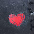 Red Heart on Black  by Ethna Gillespie
