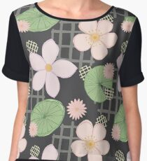 Zen Floral - Cherry Blossoms, Water Lilies and Lily Pads Women's Chiffon Top