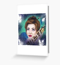 brunette girl with brushes for artists Greeting Card