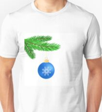 Blue Glass Ball on Green Fir Branch. Christmas Symbol. Green Branch on White Background T-Shirt