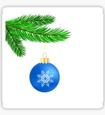 Blue Glass Ball on Green Fir Branch. Christmas Symbol. Green Branch on White Background Sticker